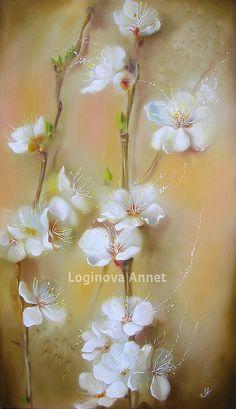 Купить Нежное цветение - сакура, картина сакура, цветы, картина цветы, бежевый, коричневый, ветки