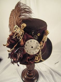 womens steampunk hats | ... Women's Steampunk Hats > Elsie Massey Steampunk Skeleton Riding Hat