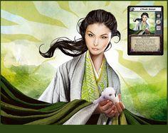 Ohsuki Sensei, ilustración que he realizado para la expansión A Line in the Sand del juego de cartas Legend of the Five Rings de Alderac Entertainment.
