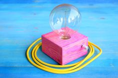 Lampen - Pink modern handmade wooden design table lamp  - ein Designerstück von MooMaaHome bei DaWanda
