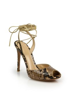 Gianvito Rossi Python-Embossed Leather Peep Toe Ankle-Wrap Sandals