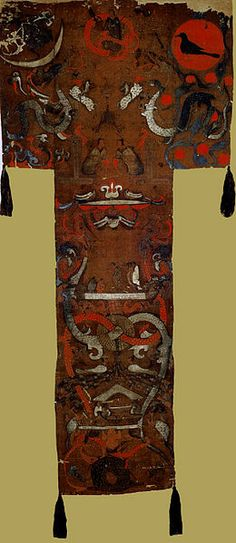 Western Han painting on silk was found draped over the coffin in the grave of Lady Dai (c. 168 BC) at Mawangdui near Changsha in Hunan province. portraiture in Chinese painting, Tai said. Ancient China, Ancient Art, Ap Art History 250, The Han Dynasty, Changsha, China Art, Chinese Painting, Silk Painting, Image Collection