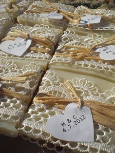 50 Wedding Favors/ all natural Soaps Wrapped in Lace / by sofiart. $75.00, via Etsy.