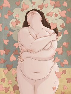 'Learn to Love Fat' by incredibly prolific commercial artist, Richard Wilkinson. There's a sweetness and freedom here that I love. Make a moment to feel like this today. Unfortunately I can't find the original source, but Wilkinson's art can be viewed at http://www.richard-wilkinson.com ♥Z