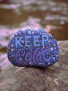 Keep Calm Stone / Painted Rock / Written on Stone by mitsel8 #Stone Art