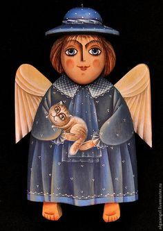 """Купить Ангел """"Девочка в шляпке с котом в руках"""" - ангел, объемный, в шляпке, деревянный, подарки, новорожденному"""