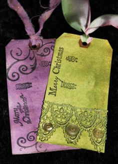 Creativity Stirs The Soul: Make these great Rit Dye Tags. Team Spirit Crafts, Christmas Gift Tags, Christmas Ideas, Merry Christmas, Rit Dye, Harry Potter Jewelry, Arts And Crafts, Paper Crafts, Jewelry Tags