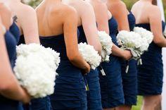 Krane Krane Krane Skok navy bridesmaid dresses and white hydrangea bouquets Wedding Table Flowers, Floral Wedding, Wedding Bouquets, White Hydrangea Bouquet, White Bouquets, White Hydrangeas, White Flowers, Navy Bridesmaid Dresses, Wedding Bridesmaids