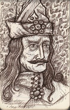 """Day 26 - Vlad the Impaler """"Listen to them."""" - Count Dracula Above: Brown Micron in Moleskin sketchbook based an old woodcut from the collection at the Rosenbach Museum. Vlad The Impaler, Count Dracula, The Turk, Eastern Europe, History, Day, Bing Images, Explore, House"""