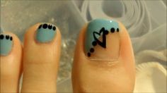 DIY Nail Art Polish Designs: Simple and Easy Sideswipe in Blue and White with Polka Dots