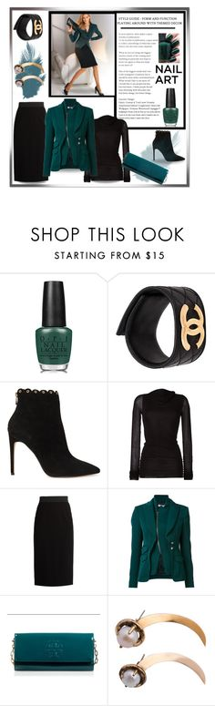 """""""Green with Envy:Wintery Nail Polish"""" by affton ❤ liked on Polyvore featuring beauty, OPI, Chanel, Raye, Rick Owens Lilies, Dolce&Gabbana, Altuzarra, Tory Burch and nailedit"""