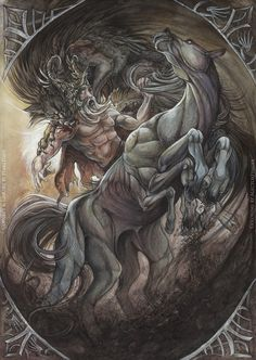 Odin Meets His Final Destiny: It is said that at Ragnarök, Odin will ride forth into battle upon his legendary steed, Sleipnir. With his golden helmet and Gungnir in hand, he will face the great wolf, Fenrisúlfr, in battle. The fight will be fearsome and brutal. But in the end, Odin will succumb to the beast as Fenrisúlfr seizes him in it's jaws and swallows him. That will be the death of Odin.