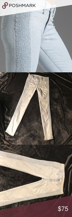 Rag and Bone light wash jeans embroidered sides Gorgeous sachiko bleach side embroidered jeans. Excellent condition. Stretchy.  Denim with tonal side embroidery down length of legs. Natural rise. Slim, fitted legs. Full-length. Five-pocket style. Button/zip front; belt loops. Cotton. Made in USA of imported material. rag & bone Jeans Skinny