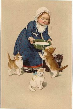 59 Ideas for children illustration girl kitty Photo Chat, Cat Cards, Greeting Cards, Vintage Cat, Cute Illustration, Cats And Kittens, Feeding Kittens, Small Kittens, Vintage Pictures