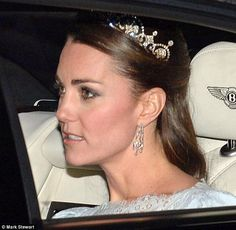 Kate in her second tiara appearance, December 3, 2013. Attending a white-tie event at Buckingham Palace.  Photo by Mark Stewart