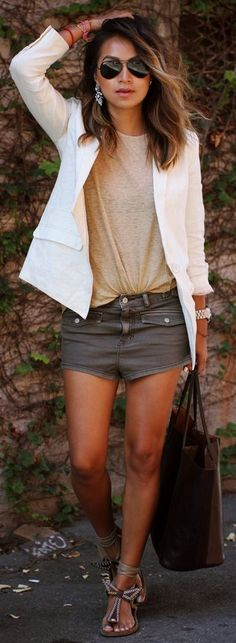 add a white jacket with shorts and sandals for a polished look