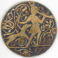 Medallion with Varlet with Horn and Hound, ca. 1240–60. Made in, Limoges, France. French. The Metropolitan Museum of Art, New York. Gift of J. Pierpont Morgan, 1917 (17.190.2152). #dogs