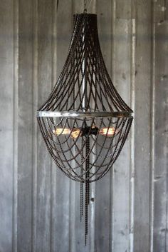 Bicycle wheel chain chandelier