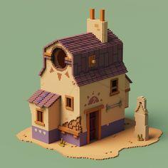 Voxel Mania — Small Boutiques - by Urabe Rocinante Diy Artwork, Artwork Design, Artwork Ideas, Voxel Games, Isometric Art, 3d Street Art, Environment Concept Art, Pottery Studio, Cartoon Styles