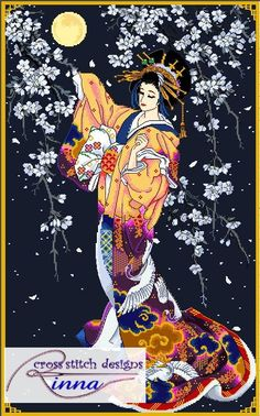 """GEISHA - Under the Evening Blooms a lovely geisha takes a strol in the evening under lovely (sakura) cherry blossoms.  Stitch Count: 216 width x 348 height Fabric colour: Navy Bue 37 symbols/ 36 DMC Thread Colours Design size: 15.5""""w x 25""""h inches on 14 count Pattern have 16 pages, overlaps. Chart have red & black symbols. Outlines for details. Sample of the chart isshown Stitcher Level: Advanced to Skilled   ....oooo........................ooooo@@@@ooooo....................oooo…"""