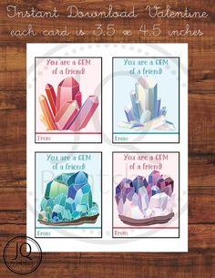 Printable Gem Valentine's Day Card, Kids Class Valentines, Classroom Valentine's Day Cards, Geology Theme, You're a Gem, Instant Download Printable Valentines Day Cards, Gift Crafts, Geology, Holiday Gifts, Celebrations, Unique Gifts, Rocks, Gems, Batu