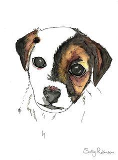 Dog print - printable dog prints - terrier art print - watercolor artwork - watercolour print - digital print from file- mini foxie by PrettyPoppyBySally on Etsy