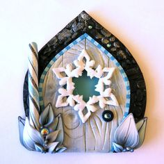 Snowflake Window Fairy Door, Christmas Pixie Portal , Winter Frost Fairy Door, Polymer Clay Wall Decor, Elf Door Holiday Decoration by Claybykim on Etsy