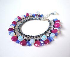 Candy colored statement bracelet  fucsia & by sparklecityjewelry, $35.00