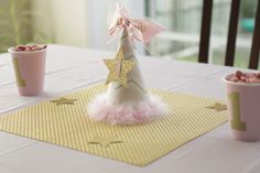 twinkle twinkle little star, party, first birthday, party hat, cake smash hat, hand made, pink and gold