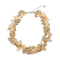 16inch(es) + 2inch(es) Twist Necklace with Citrine and Green Cultured Freshwater Pearls