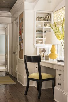 Home Office built in desk Living Great Room  eat In Kitchen  Custom design dining chairs yellow roman shades and vintage chair   design Jennifer Mehditash Www.mehditashdesign.com photo John Gruen styling Raina Kattelson