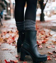 I wan't those Hunter heels rain boots Heeled Rain Boots, Hunter Rain Boots, High Heel Boots, Ankle Boots, Bootie Boots, Shoe Boots, Welly Boots, Cute Shoes, Me Too Shoes