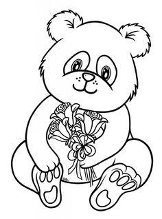 panda bear holding a flower bouquet