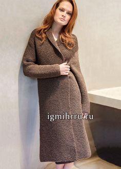 Уютно и тепло! Пальто коричневого цвета, связанное простой платочной вязкой. Вязание спицами