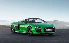 Lataa kuva Audi R8 Spyder, V10 Plus, vihreä R8, Vihreä cabriolet, Saksan autoja, urheilu autot, Audi