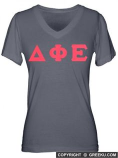Delta Phi Epsilon Fine Jersey V-neck with Sewn-On Letters