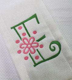 "Farmhouse Fabrics: ""Flower Curlz"" Monogrammed Burpcloth, White (11-29-12)"