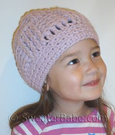 Easy Basketweave Stitch Hat Crochet Pattern in Baby and Adult Sizes from SweaterBabe.com