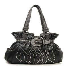 Western Black Rhinestone Buckle Accented Purse In Stock: $45