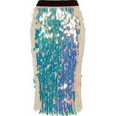 River Island Pink iridescent sequin pencil skirt ($90) ❤ liked on Polyvore featuring skirts, midi skirts, pink, women, sequin skirt, tall skirts, mid calf skirts, blue sequin skirt and pink pencil skirt