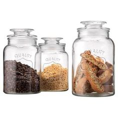 """Taking inspiration from old-fashioned mason jars, this set of 3 glass canisters stylishly stores all your cooking essentials.    Product: Small, medium and large lidded canisterConstruction Material: GlassColor: Clear  Features: 30 Ounce small capacity43 Ounce medium capacity54 Ounce large capacity   Dimensions: 12"""" H (large) Cleaning and Care: Hand wash"""