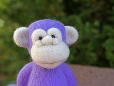 Needle Felted Purple Wool Monkey by TheWoollyPear on Etsy
