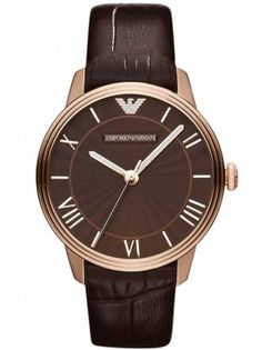 Save 23% - Was £199.00 - Now £153.00  From Emporio Armani is this stunning rose gold plated watch with a brown dial set with sparkling stones and a brown leather strap.