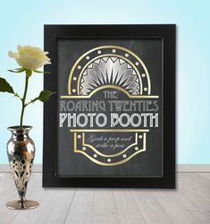 Roaring 20's Photo booth Party Props Chalkboard Sign - PRINTABLE - A4 size, Great gatsby, twenties, flapper era Photo Booth Sign
