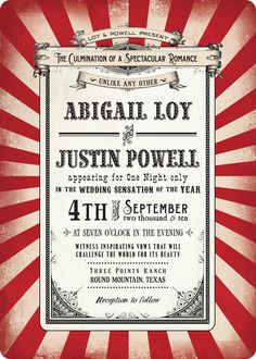 Striped circus-themed wedding invitation