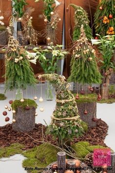 ◘ VÁNOČNÍ TREND 2013 ◘ ZELENÝ SVĚT ◘ ähnliche tolle Projekte und Ideen wie im Bild vorgestellt findest du auch in unserem Magazin . Christmas Planters, Christmas Arrangements, Outdoor Christmas, Rustic Christmas, Winter Christmas, Christmas Holidays, Green Christmas, Christmas Tree Decorations, Christmas Wreaths
