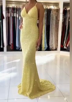 mermaid yellow sequined long evening dress prom dress with cross back vp7512 by VestidosProm, $143.65 USD