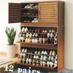NEW SNC Family Size 42 Pairs Shoes Cabinet Rack Storage IN Walnut   eBay $239 42 & 12 best Shoe storage images on Pinterest   Shoe storage Shoe closet ...