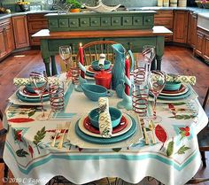 red white turquoise picnic   Love this look! A little vintage mixed in with some modern day decor ...