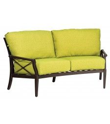 """Aluminum Andover Crescent Loveseat Height: 32.5"""" Width: 75.5"""" Depth: 32.5"""" 65 lbs Commercial - Very durable and light weight aluminum material"""